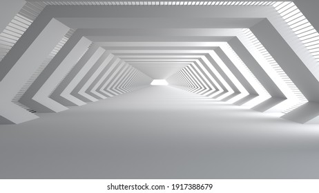 3D rendering of Empty space concrete room and the pathway area indefinitely with the gap and glowing light. Museum space design, the rhythm of the square frame and the gap, Geometric structure.