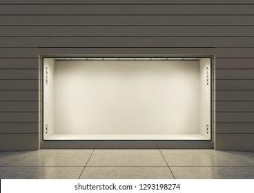 3D rendering. An empty storefront of shop. Shop window.