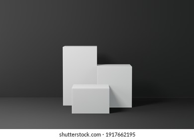 3d rendering empty template podium mockup for product placement in minimal design. Online background advertising
