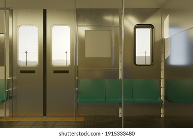 3d rendering of empty train compartment in the evening sunshine