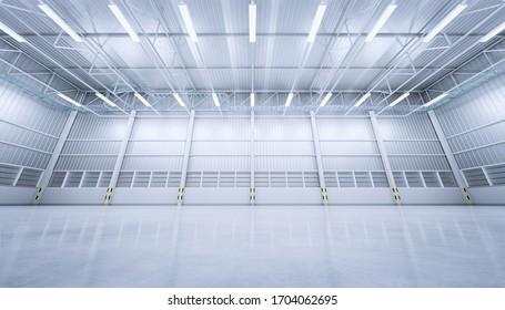 3d rendering of empty warehouse building with concrete floor.