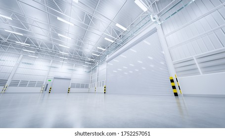 3d rendering of empty warehouse building with concrete floor new and clean condition.