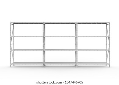 3d rendering empty warehouse rack on white background