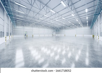 3d rendering of empty warehouse and shutter door and concrete floor for industrial background.