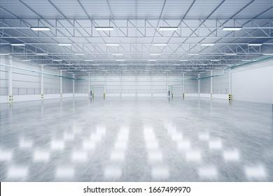 3d rendering of empty warehouse and shutter door and concrete floor for industrial background.
