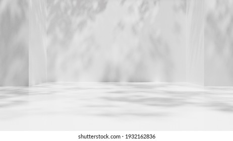 3D Rendering of empty white wall with shadow from tree leaves. Blank pedestal area for product display or background