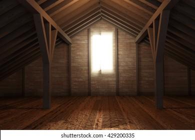 3d rendering of an empty wooden attic room