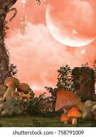 3D rendering of a enchanting fairy forest opening and in the background a lake, with a castle and a full moon.