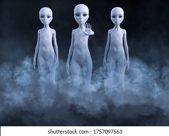 3D rendering of an encounter with three aliens standing in smoke. One of them is holding up its hand like it's greeting you.