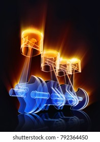 3D rendering of an engine
