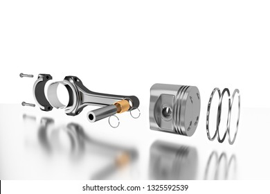 3D rendering. Engine piston with piston rings. Truck pistons on grey background. Pistons and piston rings with engine bearings.