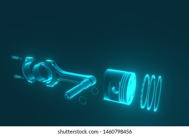 3D rendering. Engine piston with piston rings. Truck pistons on blue background. Pistons and piston rings with engine bearings.