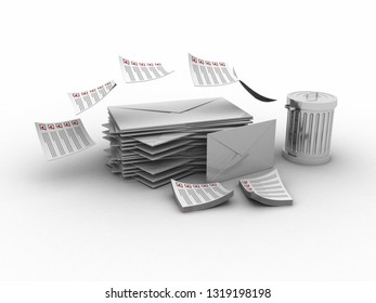 3d rendering Envelope in container