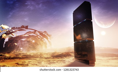 3D rendering of an epic distant planet landscape with alien monuments and ruins left from an advanced civilization