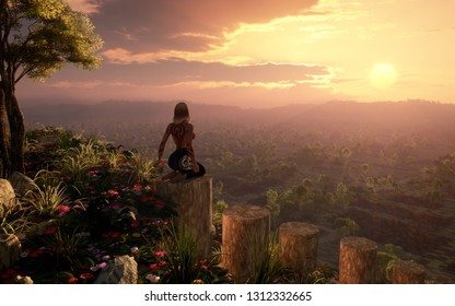3D rendering of epic fantasy landscape environment with majestic and moody atmosphere and lonely woman on top of a hill - original concept art without reference
