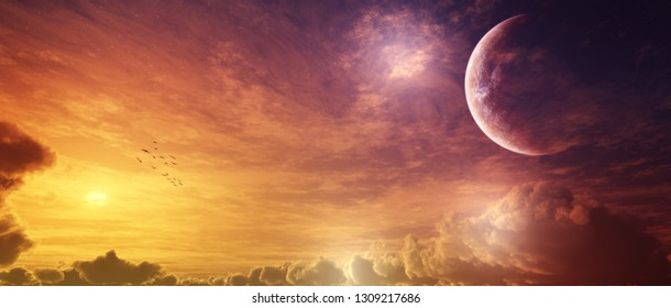 3D rendering of epic sky panorama fantasy background scenery