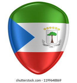 3d rendering of an Equatorial Guinea flag icon on white background.