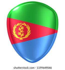3d rendering of an Eritrea flag icon on white background.