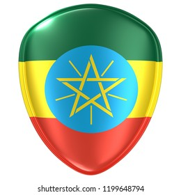 3d rendering of an Ethiopia flag icon on white background.