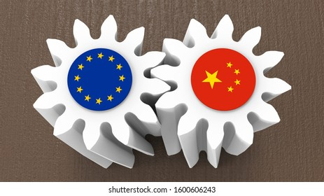 3D rendering - European Union - China cooperation bevel gears concept