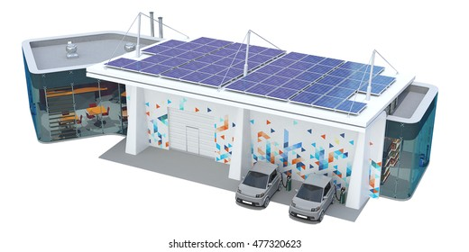 3d Rendering of a EV Charging Station on white background.