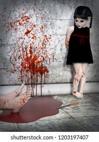 3D rendering of an evil gothic looking blood covered small girl standing in the background with a pair of feet lying in a puddle of blood in front of her. Blood splatter on the wall beside her.