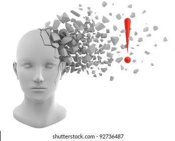 3D rendering of exclamation mark coming out from a model of human head
