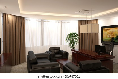 3d rendering of a executive office interior design
