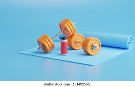 3D rendering Exercise mat with weights and watter bottle fitness. Equipment on color  background.