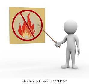 3d rendering of explaining man pointing with stick presentation of no fire flame. white person people illustration