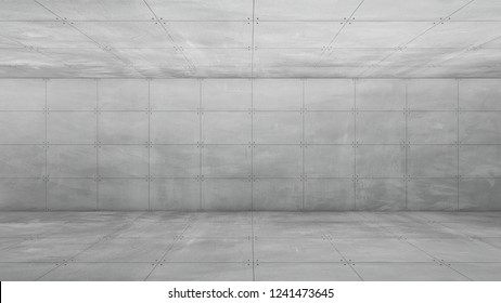 3d rendering of exposed concrete room