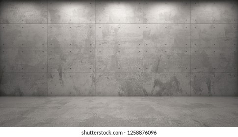 3d rendering of exposed concrete wall