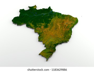 3D rendering of extruded high-resolution physical map (with relief) of Brazil, isolated on white background.