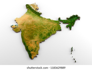 3D rendering of extruded high-resolution physical map (with relief) of India, isolated on white background.