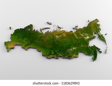 3D rendering of extruded high-resolution physical map (with relief) of Russia, isolated on white background.
