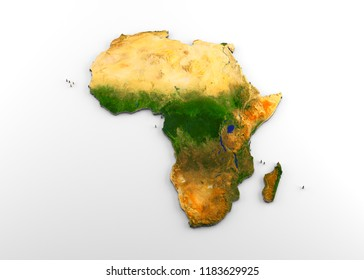 3D rendering of extruded high-resolution physical map (with relief) of the African continent, isolated on white background.