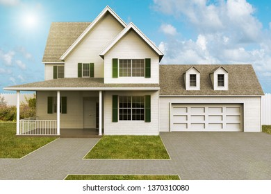 3D rendering of the facade of a house