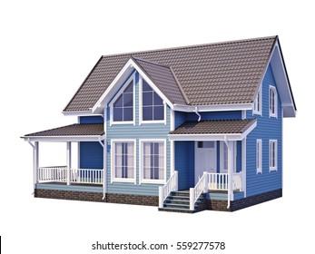 3D rendering, facade of house, house facade