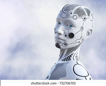 3D rendering of the face of a female robot. She is looking in to the camera.