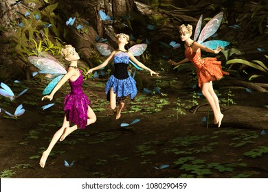 3d rendering of a fairies flying in magical forest surrounded by flock butterflies