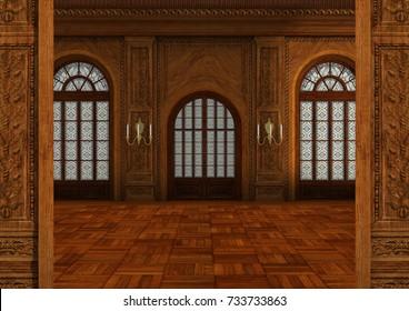 3D rendering of a fairy tale ballroom