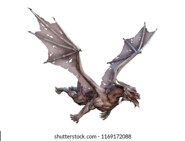 3D rendering of a fairy tale dragon isolated on white background