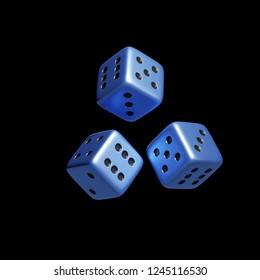 3d rendering of falling blue metallic dice on black background