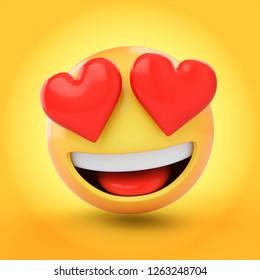 3d rendering falling love emoji 260nw 1263248704