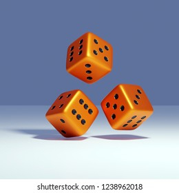 3d rendering of falling metal dice