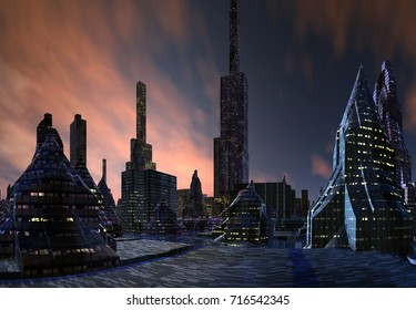 3D Rendering of a Fantasy Alien City - 3D Illustration