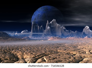 3D Rendering of a Fantasy Alien Planet - 3D Illustration