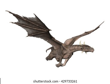 3D rendering of a fantasy dragon flying isolated on white background