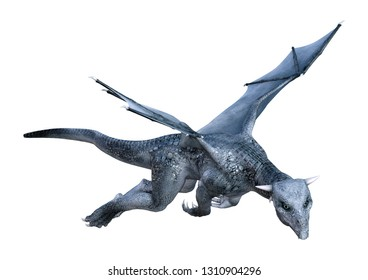 3D rendering of a fantasy dragon whelp isolated on white background