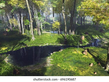3D Rendering of a Fantasy Forest Landscape - 3D Illustration